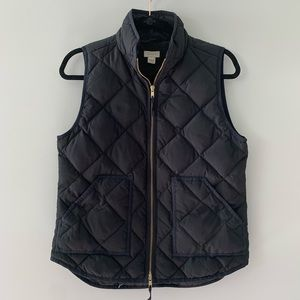 J Crew black down feather quilted vest jacket S